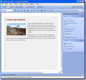 screengrab of Windows Live Writer