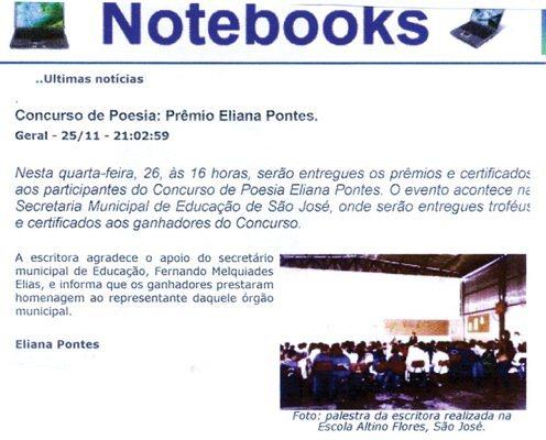 Matéria do Prêmio Eliana Pontes